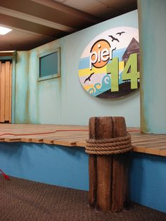 SG Studios creating interactive stage sets for churches throughout the US. Kids Church Stage, Kids Church Rooms, Church Stage Design, Church Nursery, Kids Room, Church Ideas, Preschool Logo, Anchor Wall Art, Building For Kids