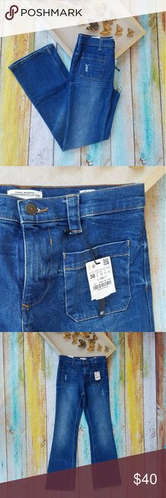 NWT Zara Tribute 70s High Waisted Jeans 6 Retro inspired jeans, high waisted with patch pockets on the front. Distressed denim, pant leg is a cross between wide leg and flared silhouette. Style is 'Tribute 70s' made ny Zara Woman. From theor premium denim collection. Never been worn and tags still attached. Size 6. Zara Jeans Flare & Wide Leg