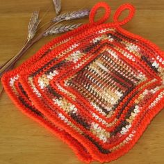 """Fall Leaves"" - Handmade Hanging Pot Holder Set of 2 - Hand-Crocheted with a Tunisian Crochet Center - and Tight, Rounded Crab Stitch Edging - 7 3/4 Inches by 8 Inches with a 2-Inch Hanging Loop.  ~~ Fall or Autumn Browns and Orange!  100% Made by me - @rssdesignsfiber of RSS Designs In Fiber !!"