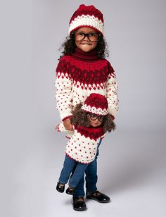 The perfect winter outfit for your little girl and her best friend - a nordic sweater and hat set, knit in Bernat Super Value.