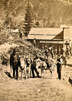 """Black Hills Gold In a prospector found gold in a little gulch in the Black Hills. The gulch was full of dead trees. It didn't take long for word to spread, and soon miners filled the hills, looking for """"Deadwood Gulch. Deadwood South Dakota, North Dakota, Old Western Towns, Western Signs, Old West Outlaws, Sheriff, Old West Town, Old West Photos, Western Photo"""