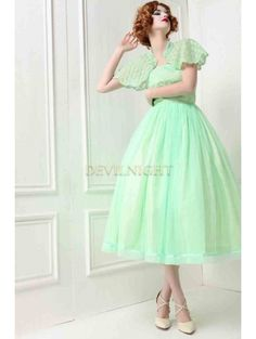 Green Lace 1950s Tea Party Dress with Cape