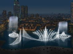 Dancing fountains of Dubai with exceptional height of 500 feet create spell binding effect for visitors at night.