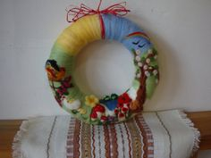 Needle+felted+easter++wreath+with+spring+pictures+by+ElisFeltCraft,+$29.00