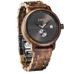 JORD Wooden Wrist Watches for Men - Hyde Series / Wood Watch Band / Wood Bezel / Analog Quartz Movement - Includes Wood Watch Box (Walnut & Black)