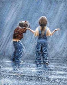 Rain Stops Play - Award winning paintings - The Global Art Company Informations About Rain Stops Pla Rain Painting, Painting People, Painting For Kids, I Love Rain, Rain Art, Rain Photography, Walking In The Rain, Global Art, Pics Art