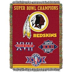 NFL Redskins Throw Blanket 48 X 60 Football Themed Bedding Sports Patterned Team Logo Fan Merchandise Athletic Team Spirit Fan White Gold Maroon Tapestry Polyester