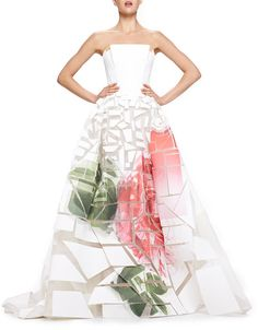 Carolina Herrera Broken-Applique Rose-Print Strapless Gown on shopstyle.com