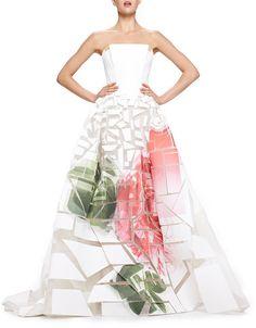 Carolina Herrera Broken-Applique Rose-Print Strapless Gown on shopstyle.com