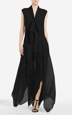 5955a62681 tie-neck dress with layered skirt in flowy chiffon. Brandais Amalee · BCBG  Max Azria Dress
