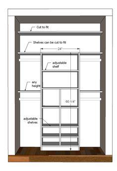 Great design for a small closet (2 small bedroom closets)