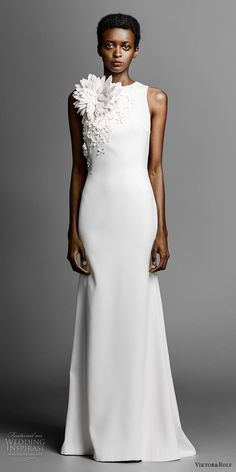 viktor and rolf spring 2019 bridal strapless sweetheart neckline heavily embellised bodice simple minmalist sheath wedding dress sweep train (9) mv -- Viktor&Rolf Spring 2019 Wedding Dresses | Wedding Inspirasi #wedding #weddings #bridal #weddingdress #bride ~