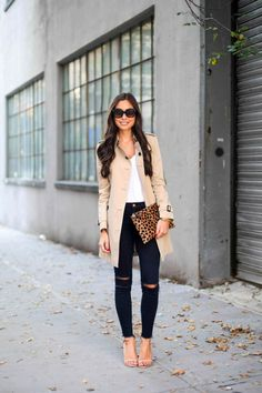 Perfect fall outfit! trench coat leopard bag black jeans