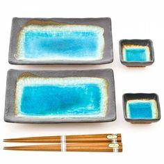 Turquoise Square Crackleglaze Plate Set | Japanese Crackleglaze