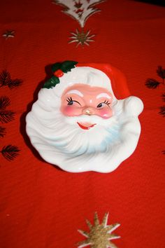 Vintage Santa Claus face small ceramic candy serving nut by poetsy, $10.00