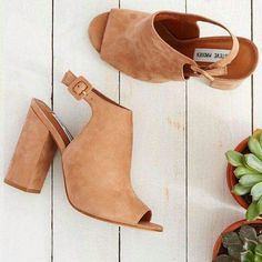 Definition: open toed, chunky heeled booties - Category: ready to wear,  better - Title: Steve Madden (Slingback Mule Heels)