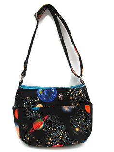 Galaxy Adjustable Strap Galaxy Black Purse by JustBeautiful161