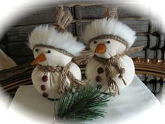 Rustic Style   Christmas  Snowmen  set of 2. by Mydaisy2000
