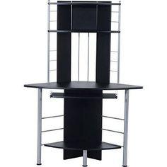 "HomCom 45"" Arch Tower Corner Computer Desk - Black"