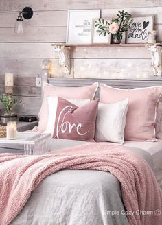 Decor Room, Home Decor Bedroom, Living Room Decor, Modern Bedroom, Rustic Girls Bedroom, Bedroom Vintage, Contemporary Bedroom, White Rustic Bedroom, Blush Bedroom Decor