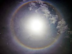 Halos around the sun -or moon – are a sign of thin cirrus clouds drifting high above our heads. They are a sign of nearby storms.
