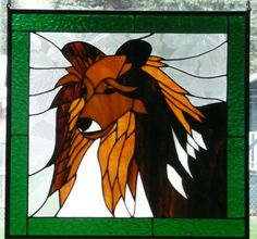 """Stained Glass Sheltie (Shetland Sheepdog) - commissioned piece I made (~ 22"""" x 22"""")"""