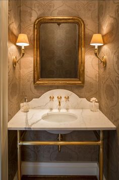 [Notice the innermost frame on the mirror.] Friday Favorites - Antique Mirrors in a Bathroom - Maison de Cinq