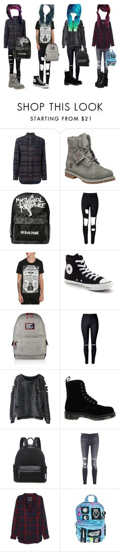 """""""Emo/scene girl outfits"""" by miab1245 ❤ liked on Polyvore featuring Isabel Marant, Timberland, WithChic, Converse, Superdry, Dr. Martens, J Brand, Rails and Current Mood"""