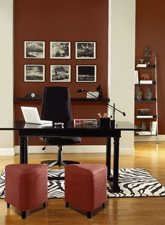 Benjamin Moore Paint Colors - Red Home Office Ideas - Energizing Red Home Office . . . . . Accent treasured art and artifacts with a memorable shade of russet red. . . . . . Walls - Red Rock (2005-10); Columns (each side of pictures) - Jute (AF-80); Accent (stools) - Moroccan Spice (AF-285).