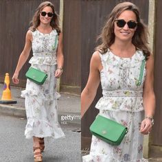 Pippa is at Wimbledon today as well carrying a green bag and wearing a dress Pippa And James, Kate And Pippa, Kate And Meghan, Pippa Middleton Style, Middleton Family, Princess Fashion, Princess Style, Royal Style