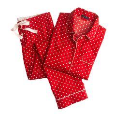 J.Crew women's pajama set in polka-dot flannel.