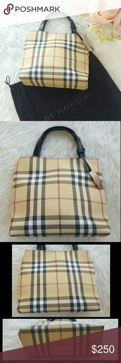 Authentic Buberry Nova Check Mini tote A classic Burberry mini tote in Nova Check coated canvas and tonal leather. Details include two flat handles, magnetic snap closure, and a fully lined interior with a zip pocket. Made in Italy. In good condition, clean inside, slight stain on front top right, slight rubbing on corners. Comes with the original dustbag. NO TRADES Burberry Bags Mini Bags