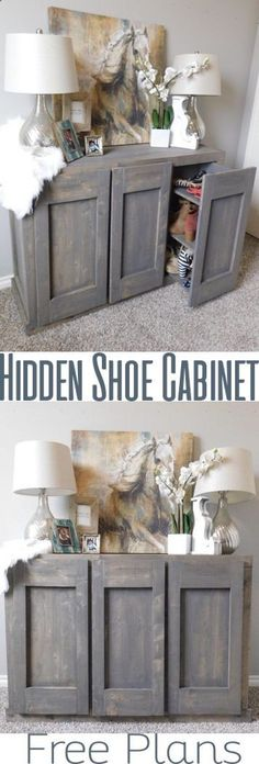 Plans of Woodworking Diy Projects - DIY Shoe Cabinet - Hidden Storage - Woodworking plans Get A Lifetime Of Project Ideas & Inspiration!