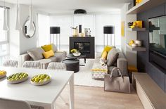 déco salon gris et jaune coussins et fruits en tant que déco intérieure