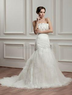Trumpet/Mermaid Strapless Tulle Chapel Train Flower(s) Wedding Dresses