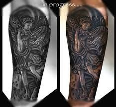 st michael archangel Cover up tattoo by Pradeep Junior at Astron Tattoos Bangalore