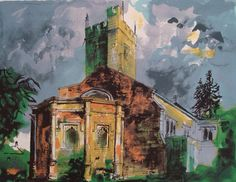 Sunningwell, Oxfordshire by John Piper at Marlborough Fine Art (IFPDA) - Printed Editions - Ref 47859 Edward Hopper, John Piper Artist, 20th Century Painters, Building Art, List Of Artists, Abstract Painters, Spring Art, Art Themes, Landscape Paintings