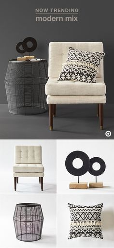 This season's hottest home trend is all about graphic patterns, geometric shapes, and a modern mix of materials. And, the black and white color palette makes it easy to incorporate into your existing decor. Start with essentials, like furniture. A neutral upholstered chair is the perfect foundation for patterned throw pillows, and a black metal wire side table is beautiful on its own, and creates the perfect spot for some geometric decor. The only rule? Have fun with it!
