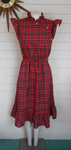 vintage 80s girly plaid and ruffled day dress by lovestoryvintage, $25.00