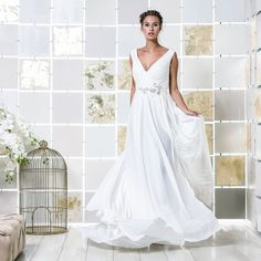 Gio Rodrigues Valerie Wedding Dress  gracious wedding dress fluid crepe application crystals draped trespass V-neckline covered buttons pleats engaged inspiration unique gorgeous elegant bride