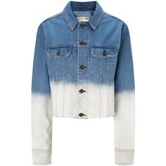 Rag & Bone Blue Ombre Cropped Denim Jacket ($405) ❤ liked on Polyvore featuring outerwear, jackets, multi, jean jacket, cropped jacket, long sleeve jean jacket, blue jackets and cropped denim jacket