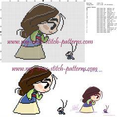 Chibi Mulan cross stitch pattern