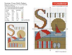 summer cross stitch with color key