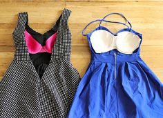 What to do with a backless dress?  SEW THE CUPS OF A DISCOUNT BRA IN IT.  Duh! Best idea ever.