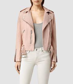 Allsaints Wyatt Leather Biker Jacket in Pink (BLUSH PINK)