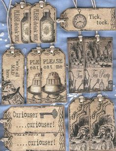 12  ASSORTED ALICE IN WONDERLAND VINTAGE TEA PARTY  GIFT TAGS  FAVOURS