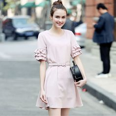 New Fashion Elegant Women's Chiffon Dress Cute Butterfly Sleeve Office Dress O-Neck Tunic Party Vestidos Women Dress