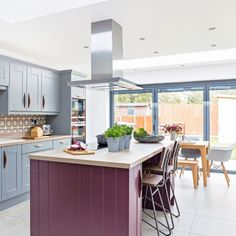 Colourful open-plan kitchen diner