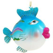 Blue Fish With Big Lips Glass Ornament $10.99