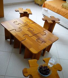 Puzzle table and stools